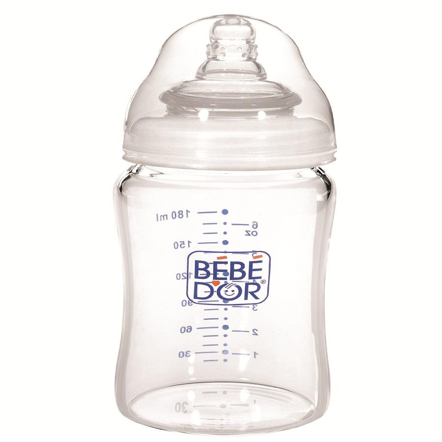 BIBERON BEBE D'OR din sticla cu gat larg, 180 ml -